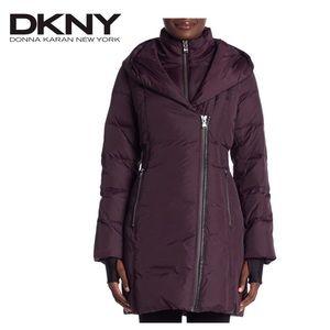 DKNY Hooded Down Coat, Medium Petite